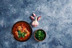 Sopa de Kharcho - plato georgiano nacional de la cocina con carne de vaca, arroz, ajo y tkemali Comida cauc?sica aut?ntica tradic imagen de archivo libre de regalías