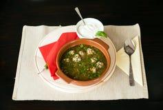 Sopa de la albóndiga con crema agria Foto de archivo libre de regalías