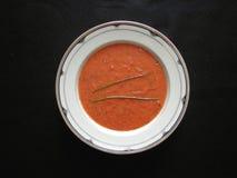 Sopa de la albahaca del tomate Foto de archivo libre de regalías