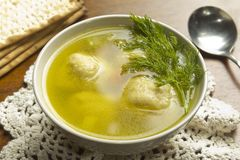 Sopa de la bola del Matzoh Foto de archivo libre de regalías