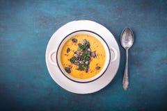 Sopa de la calabaza con las semillas de calabaza y las pimientas de chile imagenes de archivo