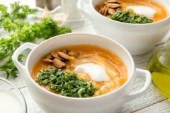 Sopa de la calabaza con pesto y semillas asadas Imagen de archivo libre de regalías