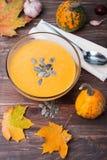 Sopa de la calabaza de otoño Fotos de archivo libres de regalías