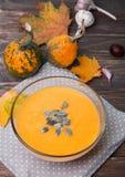 Sopa de la calabaza de otoño Imágenes de archivo libres de regalías