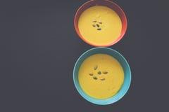 Sopa de la calabaza en cuenco con las semillas foto de archivo libre de regalías