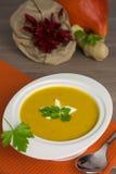 Sopa de la calabaza en el plato blanco Imagen de archivo libre de regalías