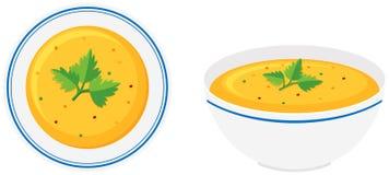 Sopa de la calabaza en tazón de fuente stock de ilustración