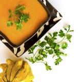 Sopa de la calabaza o sopa de la calabaza con perejil y paprika Imagen de archivo