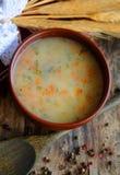 Sopa de la cebada en el cuenco fotos de archivo