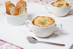 Sopa de la cebolla en estilo francés Foto de archivo libre de regalías