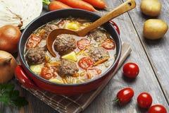 Sopa de la col con las albóndigas y los tomates Imagenes de archivo