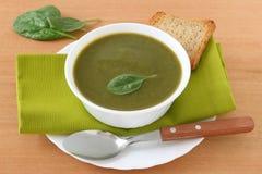 Sopa de la espinaca con la tostada Fotografía de archivo libre de regalías