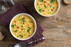 Sopa de la sopa de pescado de maíz foto de archivo