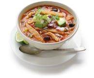 Sopa de la tortilla, cocina mexicana Imagenes de archivo