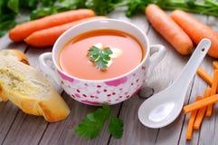 Sopa de la zanahoria en un cuenco de la porcelana Imágenes de archivo libres de regalías
