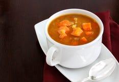 Sopa de la zanahoria y de lenteja roja fotos de archivo