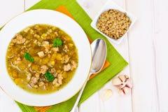 Sopa de lentilha com carne triturada, raiz de aipo, abóbora, cebola Imagens de Stock