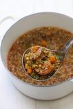 Sopa de lentilha espanhola com chouriço Imagem de Stock Royalty Free