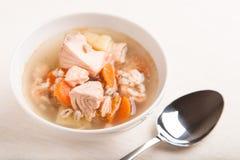 Sopa de los pescados con el perlé de los salmones y del orge Imagenes de archivo