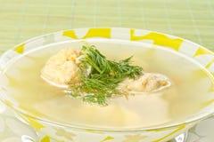 Sopa de los pescados con las albóndigas Fotografía de archivo
