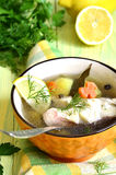Sopa de los pescados de la perca de mar Fotografía de archivo libre de regalías