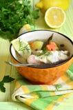 Sopa de los pescados de la perca de mar Imágenes de archivo libres de regalías
