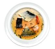Sopa de los pescados de la placa Imagen de archivo libre de regalías