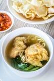 Sopa de macarronete com bolinha de massa e os vegetais fritados Fotos de Stock