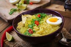 Sopa de macarronete com galinha, aipo e ovo em uma bacia Imagem de Stock Royalty Free