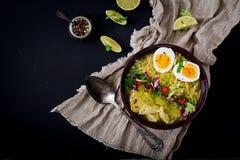 Sopa de macarronete com galinha, aipo e ovo em uma bacia Imagem de Stock