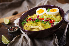 Sopa de macarronete com galinha, aipo e ovo em uma bacia Fotografia de Stock