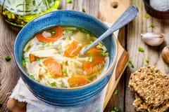 Sopa de macarronete da galinha com cenouras e as cebolas verdes Fotos de Stock Royalty Free