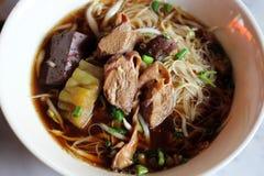 Sopa de macarronete do arroz com carne Fotografia de Stock Royalty Free