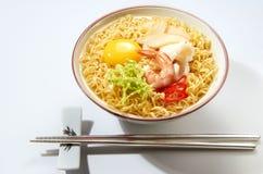 Sopa de macarronete do marisco Fotografia de Stock
