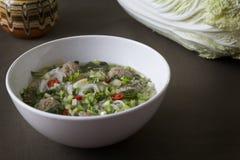 Sopa de macarronete tailandesa com almôndegas, couve chinesa e coentro Foto de Stock Royalty Free