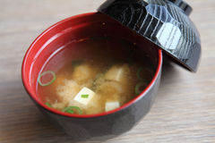 Sopa de Miso, alimento japonês imagem de stock royalty free