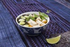 Sopa de miso japonesa com tofu e wakame Imagem de Stock Royalty Free
