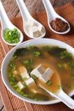 Sopa de miso japonesa na bacia com uma colher horizontal Fotos de Stock Royalty Free