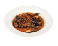 Sopa de Musseles con el sause del tomate Imagen de archivo libre de regalías