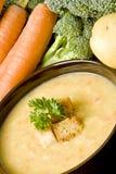 Sopa de patata con las zanahorias y el bróculi Fotos de archivo libres de regalías