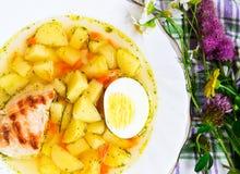 Sopa de patatas del pollo Imagenes de archivo