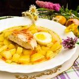 Sopa de patatas del pollo Fotos de archivo