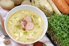 Sopa de patatas en un tazón de fuente Imagen de archivo libre de regalías