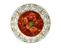 Sopa de Peixe. Com tomate. Fish Soup with Hart's . Portuguese Food.Selective focus stock image