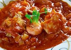 Sopa de Peixe. Com tomate. Fish Soup with Hart's . Portuguese Food.Selective focus royalty free stock image