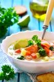 Sopa de peixe com truta imagens de stock