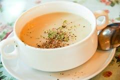 Sopa de peixe de milho imagem de stock