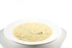 Sopa de peixe de milho caseiro da galinha fotografia de stock royalty free