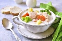 Sopa de pescado de pescados con las verduras Foto de archivo libre de regalías