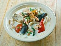 Sopa de pescado de pescados del coco Imagen de archivo